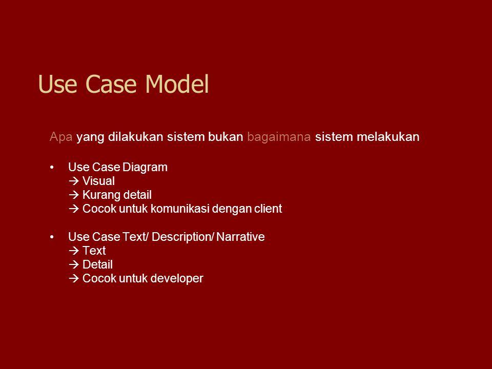 Apa yang dilakukan sistem bukan bagaimana sistem melakukan Use Case Diagram  Visual  Kurang detail  Cocok untuk komunikasi dengan client Use Case T