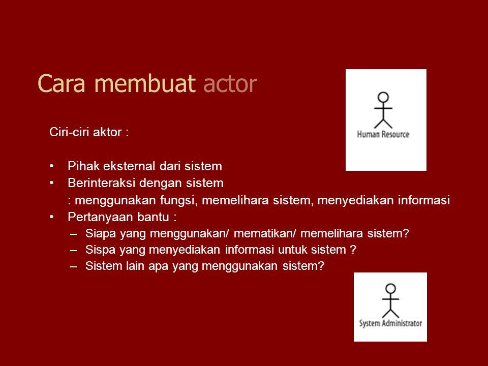Ciri-ciri aktor : Pihak eksternal dari sistem Berinteraksi dengan sistem : menggunakan fungsi, memelihara sistem, menyediakan informasi Pertanyaan ban