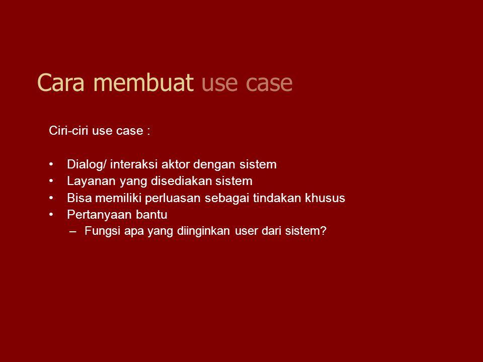 Ciri-ciri use case : Dialog/ interaksi aktor dengan sistem Layanan yang disediakan sistem Bisa memiliki perluasan sebagai tindakan khusus Pertanyaan b