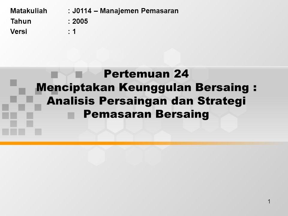 1 Pertemuan 24 Menciptakan Keunggulan Bersaing : Analisis Persaingan dan Strategi Pemasaran Bersaing Matakuliah: J0114 – Manajemen Pemasaran Tahun: 2005 Versi: 1