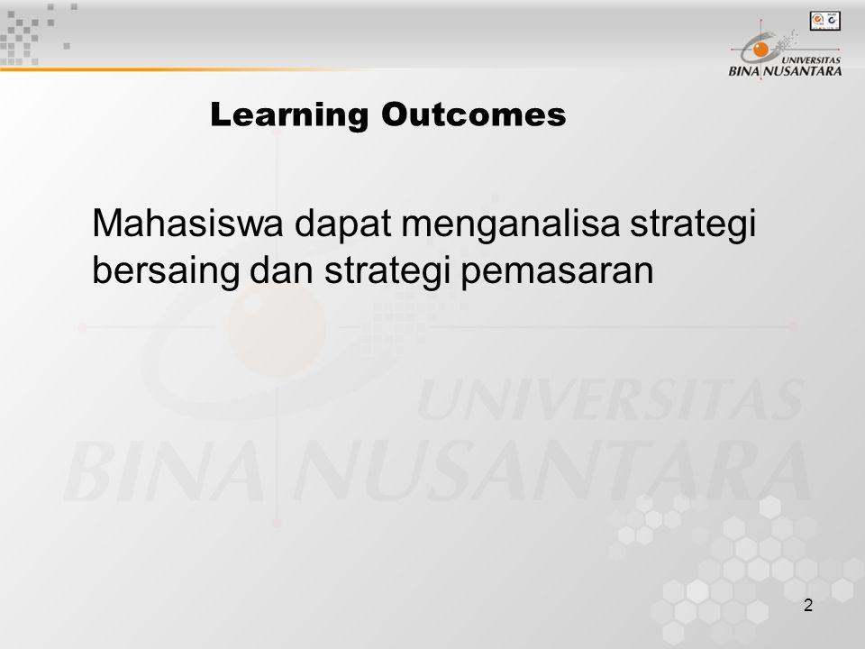 2 Learning Outcomes Mahasiswa dapat menganalisa strategi bersaing dan strategi pemasaran
