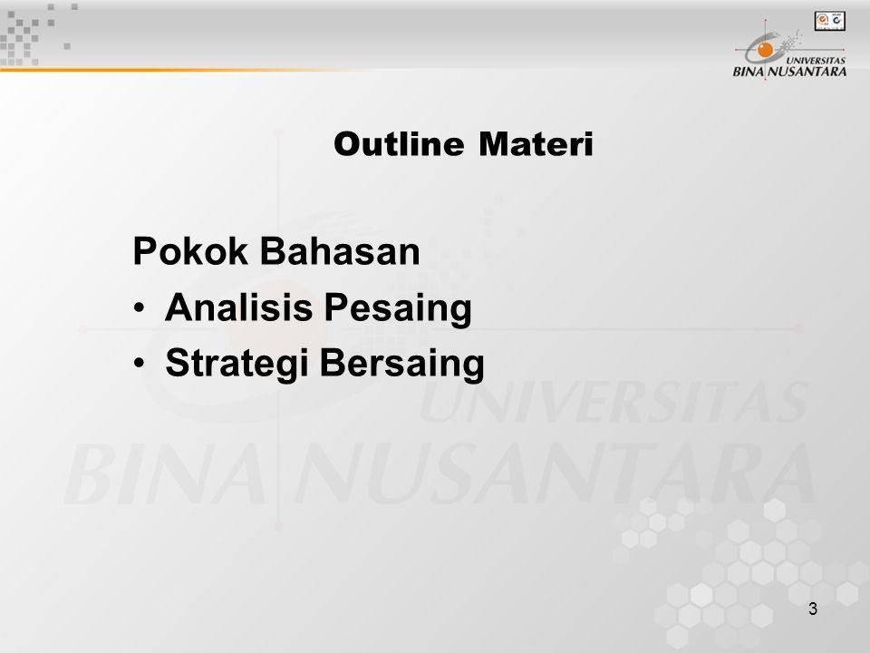 3 Outline Materi Pokok Bahasan Analisis Pesaing Strategi Bersaing