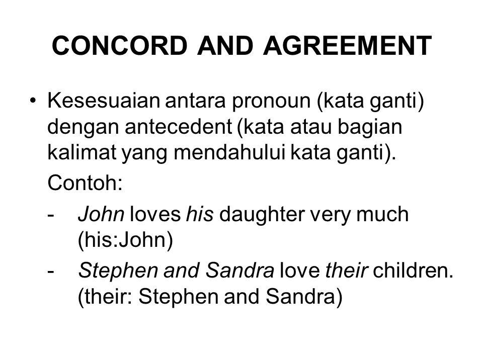 CONCORD AND AGREEMENT Kesesuaian antara pronoun (kata ganti) dengan antecedent (kata atau bagian kalimat yang mendahului kata ganti). Contoh: -John lo