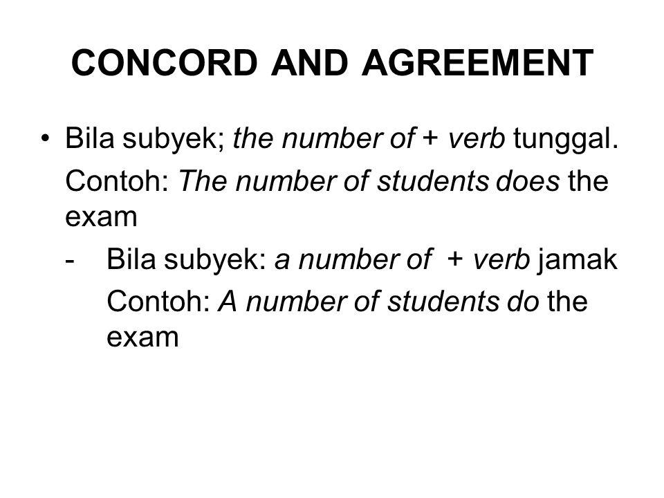 CONCORD AND AGREEMENT Bila subyek: everyone, everybody, somebody, someone, something, no one/none, nothing, no body, anyone, anybody, anything + verb tunggal → kata ganti jamak.