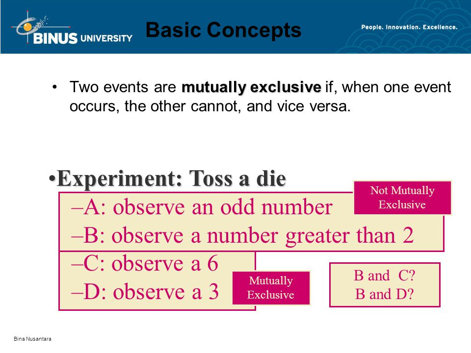 Bina Nusantara Basic Concepts mutually exclusiveTwo events are mutually exclusive if, when one event occurs, the other cannot, and vice versa. Experim