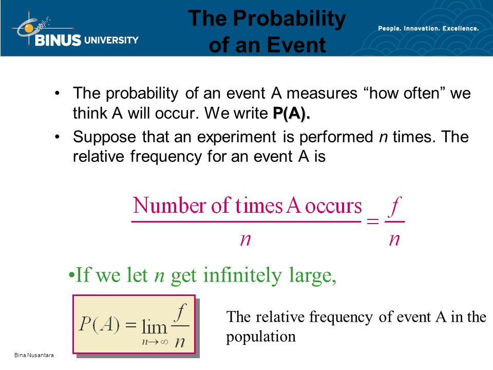 "Bina Nusantara The Probability of an Event P(A).The probability of an event A measures ""how often"" we think A will occur. We write P(A). Suppose that"