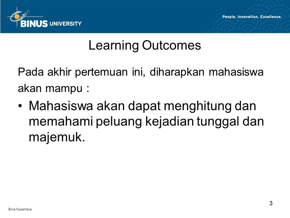 Bina Nusantara Learning Outcomes 3 Pada akhir pertemuan ini, diharapkan mahasiswa akan mampu : Mahasiswa akan dapat menghitung dan memahami peluang ke