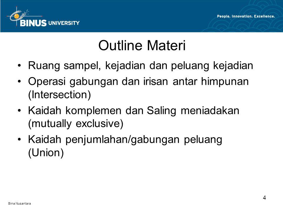 Bina Nusantara Outline Materi 4 Ruang sampel, kejadian dan peluang kejadian Operasi gabungan dan irisan antar himpunan (Intersection) Kaidah komplemen
