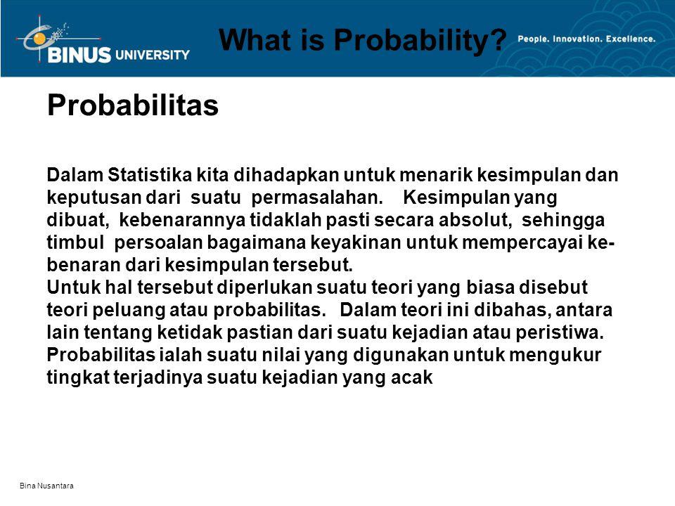 Bina Nusantara What is Probability? Probabilitas Dalam Statistika kita dihadapkan untuk menarik kesimpulan dan keputusan dari suatu permasalahan. Kesi
