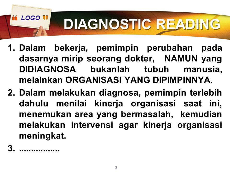 LOGO DIAGNOSTIC READING 1.Dalam bekerja, pemimpin perubahan pada dasarnya mirip seorang dokter, NAMUN yang DIDIAGNOSA bukanlah tubuh manusia, melainkan ORGANISASI YANG DIPIMPINNYA.