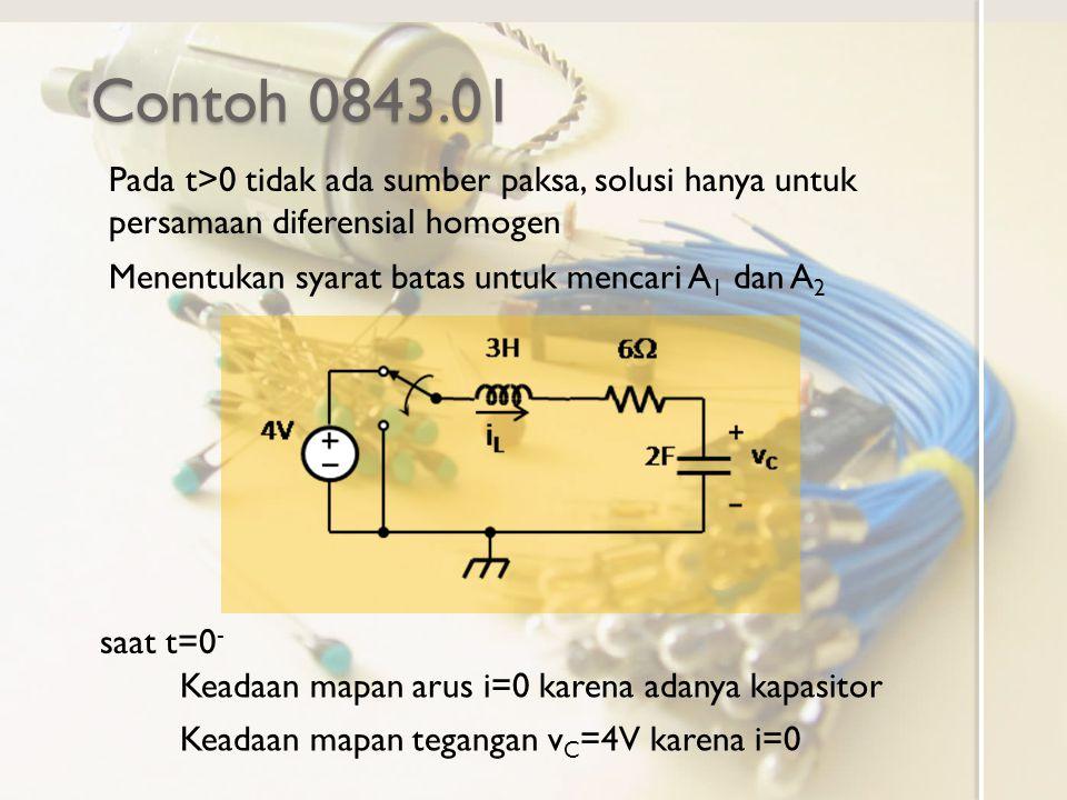 Contoh 0843.01 Pada t>0 tidak ada sumber paksa, solusi hanya untuk persamaan diferensial homogen Menentukan syarat batas untuk mencari A 1 dan A 2 Kea