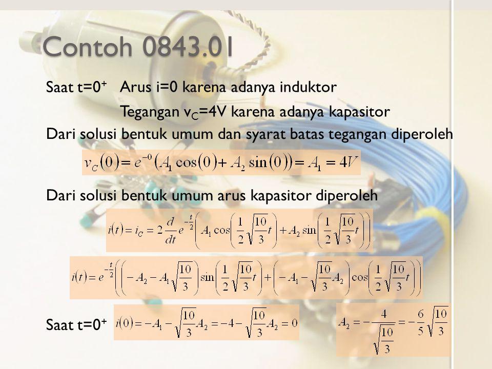 Contoh 0843.01 Arus i=0 karena adanya induktor Tegangan v C =4V karena adanya kapasitor Saat t=0 + Dari solusi bentuk umum dan syarat batas tegangan d