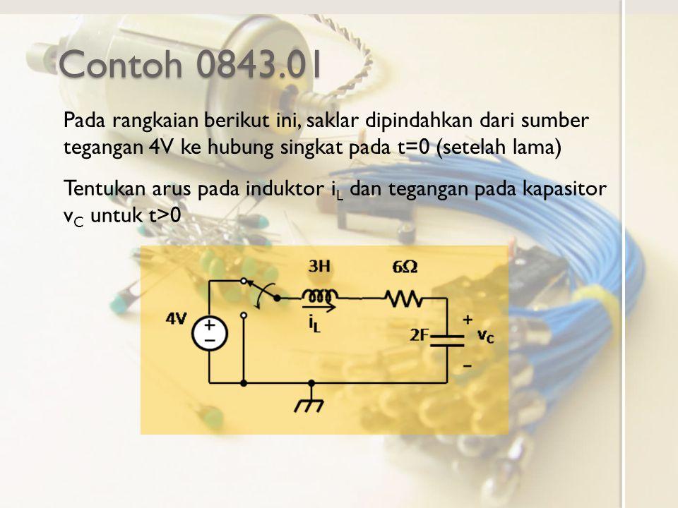 Contoh 0843.01 Pada rangkaian berikut ini, saklar dipindahkan dari sumber tegangan 4V ke hubung singkat pada t=0 (setelah lama) Tentukan arus pada ind