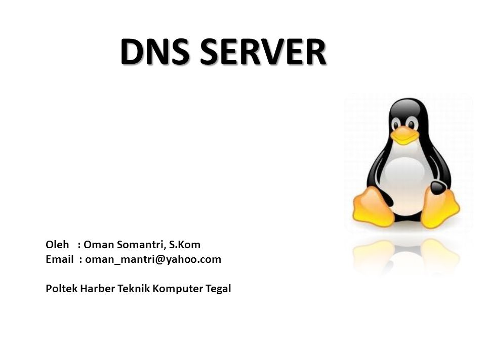 DNS SERVER Oleh : Oman Somantri, S.Kom Email : oman_mantri@yahoo.com Poltek Harber Teknik Komputer Tegal