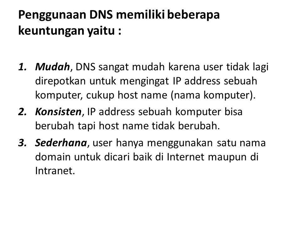 Penggunaan DNS memiliki beberapa keuntungan yaitu : 1.Mudah, DNS sangat mudah karena user tidak lagi direpotkan untuk mengingat IP address sebuah komputer, cukup host name (nama komputer).