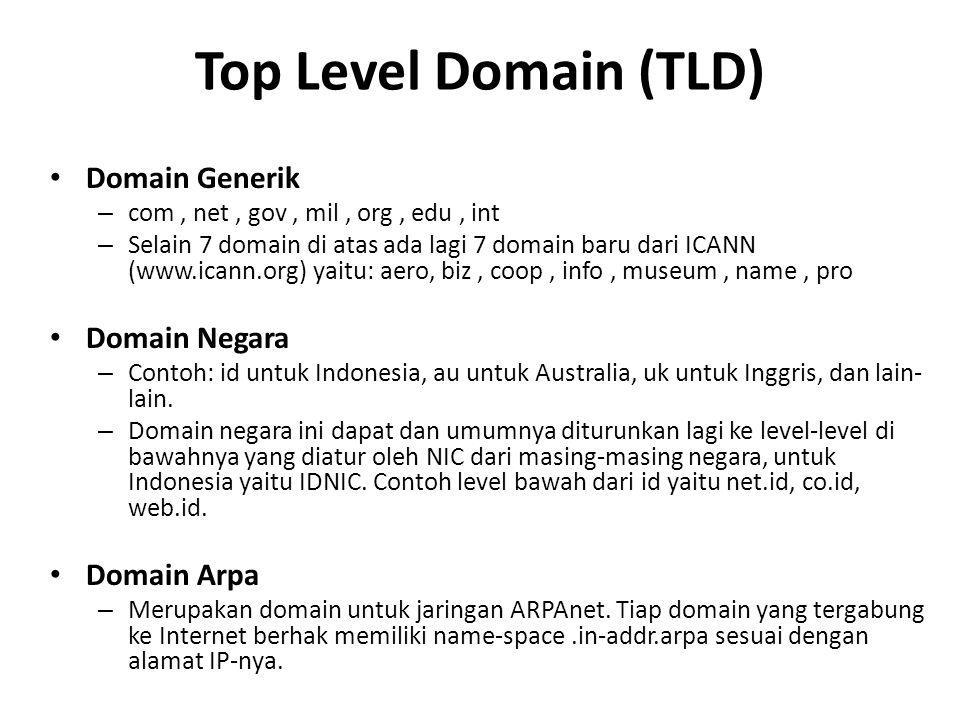 Top Level Domain (TLD) Domain Generik – com, net, gov, mil, org, edu, int – Selain 7 domain di atas ada lagi 7 domain baru dari ICANN (www.icann.org) yaitu: aero, biz, coop, info, museum, name, pro Domain Negara – Contoh: id untuk Indonesia, au untuk Australia, uk untuk Inggris, dan lain- lain.