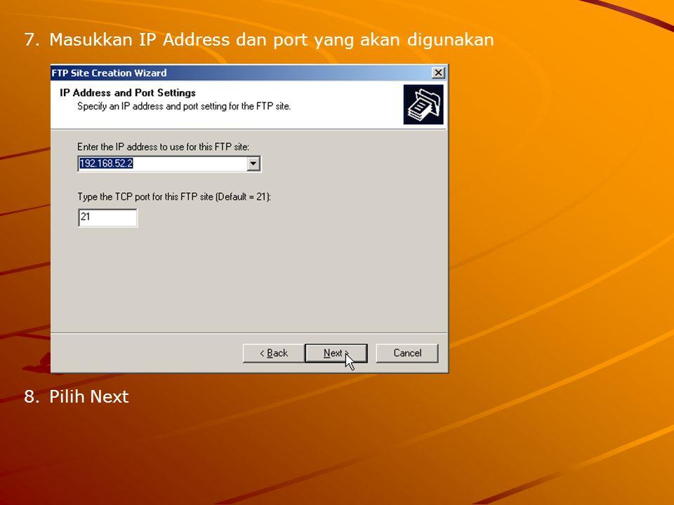 9.Pilih opsi user yang dapat mengakses ftp (misalkan: Do not isolate users) 10.Pilih Next