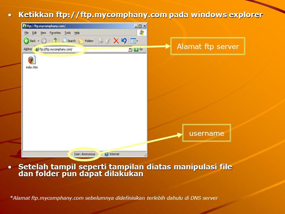 Ketikkan ftp://ftp.mycomphany.com pada windows explorerKetikkan ftp://ftp.mycomphany.com pada windows explorer Setelah tampil seperti tampilan diatas