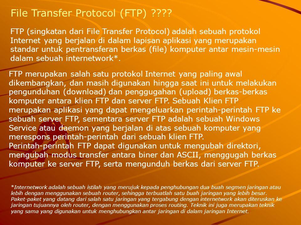 FTP (singkatan dari File Transfer Protocol) adalah sebuah protokol Internet yang berjalan di dalam lapisan aplikasi yang merupakan standar untuk pentr