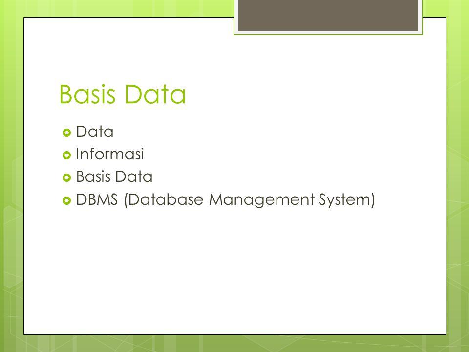 Basis Data  Data  Informasi  Basis Data  DBMS (Database Management System)