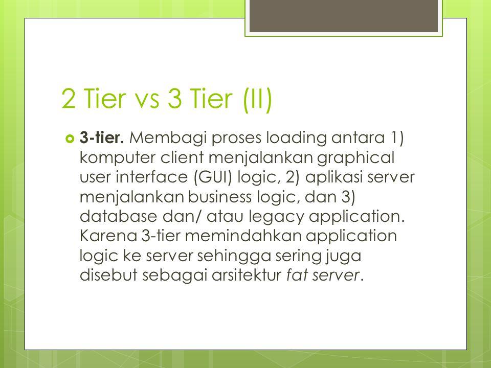 2 Tier vs 3 Tier (II)  3-tier. Membagi proses loading antara 1) komputer client menjalankan graphical user interface (GUI) logic, 2) aplikasi server