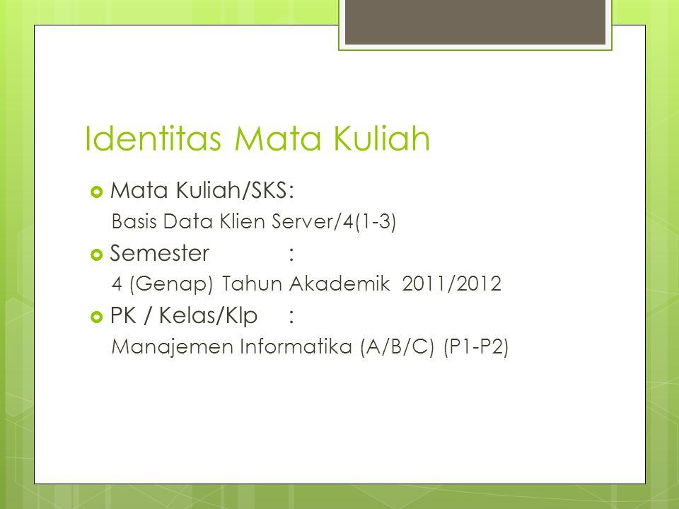 Identitas Mata Kuliah  Mata Kuliah/SKS: Basis Data Klien Server/4(1-3)  Semester : 4 (Genap) Tahun Akademik 2011/2012  PK / Kelas/Klp: Manajemen In