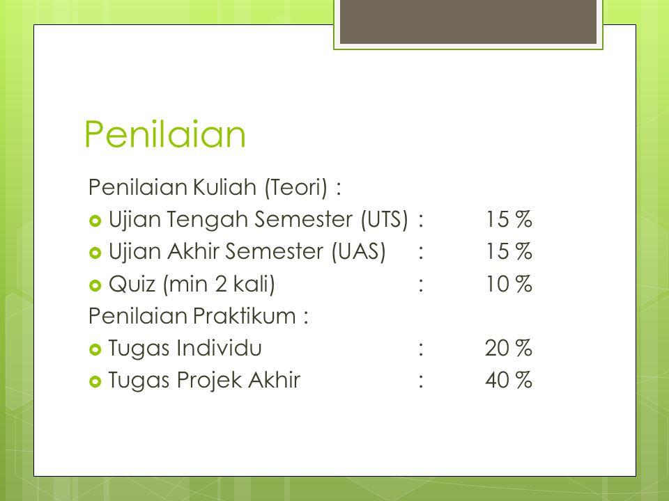 Penilaian Penilaian Kuliah (Teori) :  Ujian Tengah Semester (UTS):15 %  Ujian Akhir Semester (UAS):15 %  Quiz (min 2 kali):10 % Penilaian Praktikum