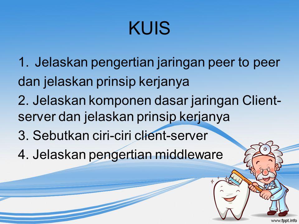 KUIS 1.Jelaskan pengertian jaringan peer to peer dan jelaskan prinsip kerjanya 2. Jelaskan komponen dasar jaringan Client- server dan jelaskan prinsip