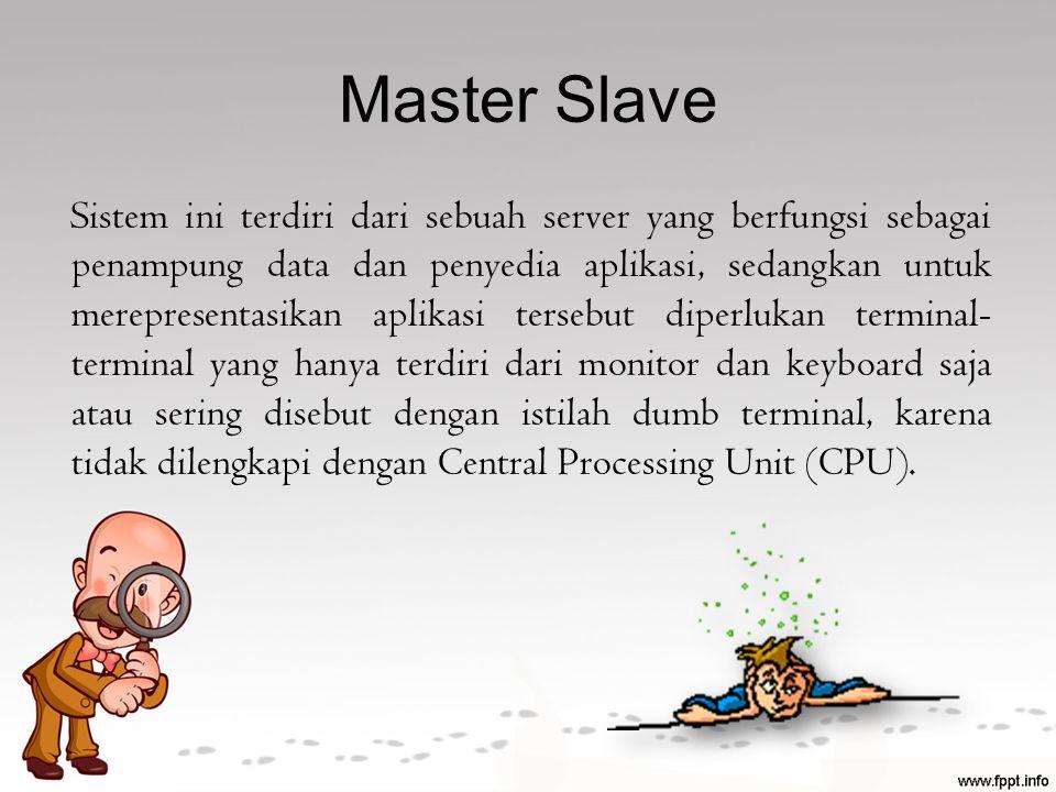 Master Slave Sistem ini terdiri dari sebuah server yang berfungsi sebagai penampung data dan penyedia aplikasi, sedangkan untuk merepresentasikan apli