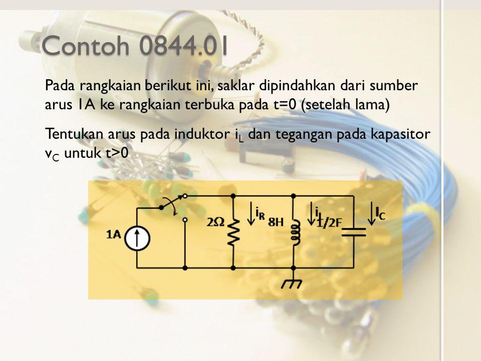Contoh 0844.01 Pada rangkaian berikut ini, saklar dipindahkan dari sumber arus 1A ke rangkaian terbuka pada t=0 (setelah lama) Tentukan arus pada induktor i L dan tegangan pada kapasitor v C untuk t>0