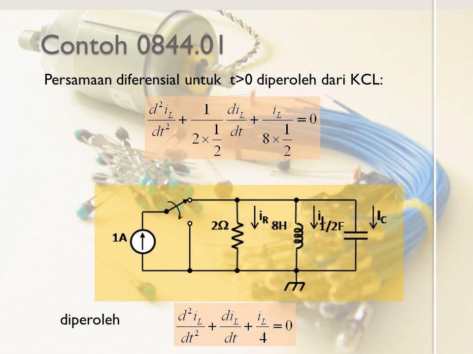 Contoh 0844.01 Persamaan diferensial untuk t>0 diperoleh dari KCL: diperoleh