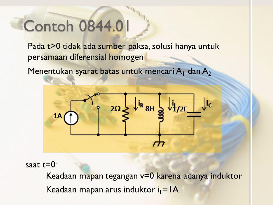 Contoh 0844.01 Pada t>0 tidak ada sumber paksa, solusi hanya untuk persamaan diferensial homogen Menentukan syarat batas untuk mencari A 1 dan A 2 Keadaan mapan tegangan v=0 karena adanya induktor Keadaan mapan arus induktor i L =1A saat t=0 -