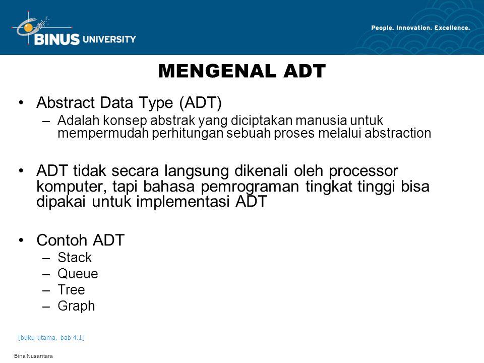 Bina Nusantara MENGENAL ADT Abstract Data Type (ADT) –Adalah konsep abstrak yang diciptakan manusia untuk mempermudah perhitungan sebuah proses melalu
