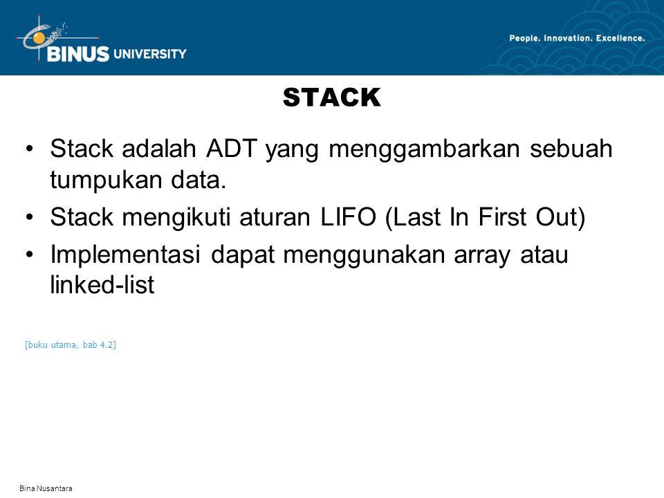 Bina Nusantara STACK Stack adalah ADT yang menggambarkan sebuah tumpukan data. Stack mengikuti aturan LIFO (Last In First Out) Implementasi dapat meng