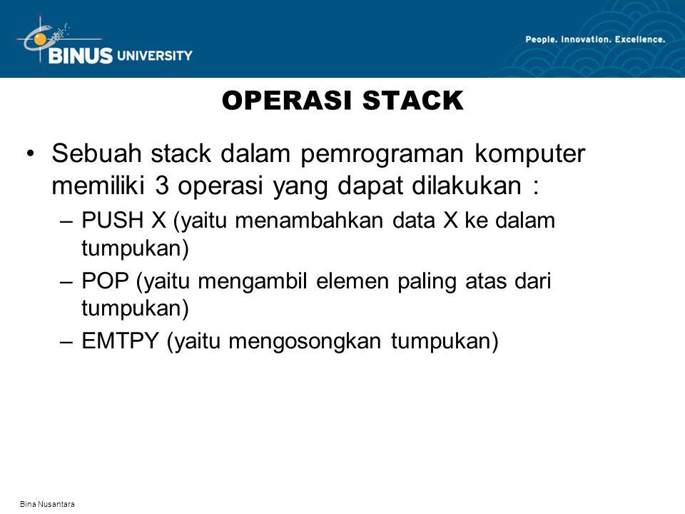 Bina Nusantara OPERASI STACK Sebuah stack dalam pemrograman komputer memiliki 3 operasi yang dapat dilakukan : –PUSH X (yaitu menambahkan data X ke da