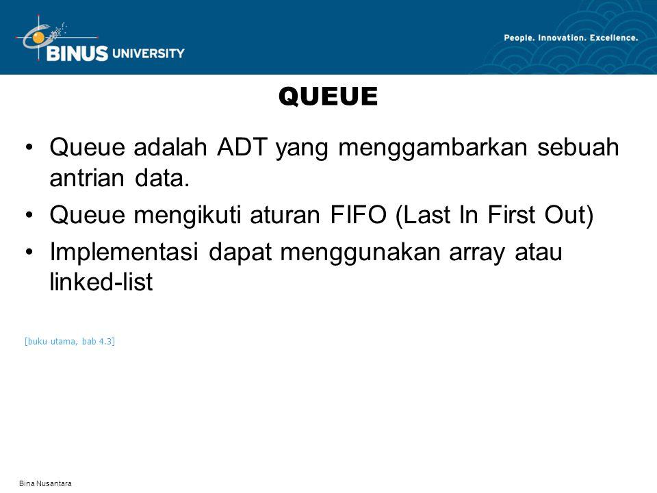 Bina Nusantara QUEUE Queue adalah ADT yang menggambarkan sebuah antrian data. Queue mengikuti aturan FIFO (Last In First Out) Implementasi dapat mengg