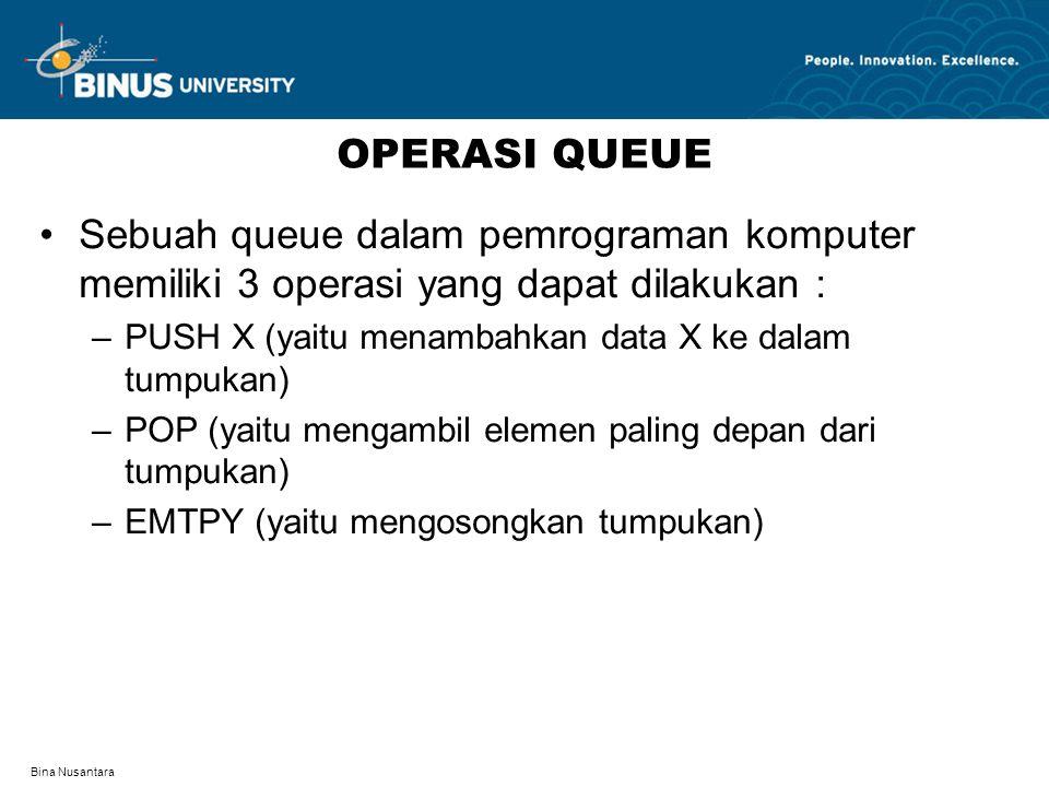 Bina Nusantara OPERASI QUEUE Sebuah queue dalam pemrograman komputer memiliki 3 operasi yang dapat dilakukan : –PUSH X (yaitu menambahkan data X ke da