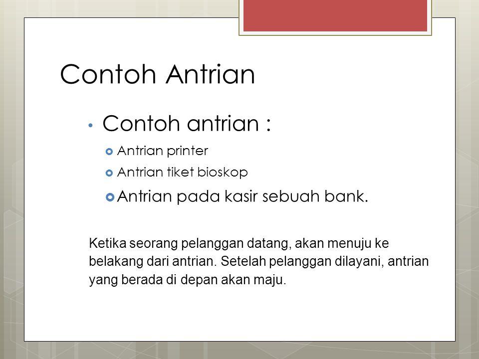 Contoh Antrian Contoh antrian :  Antrian printer  Antrian tiket bioskop  Antrian pada kasir sebuah bank.