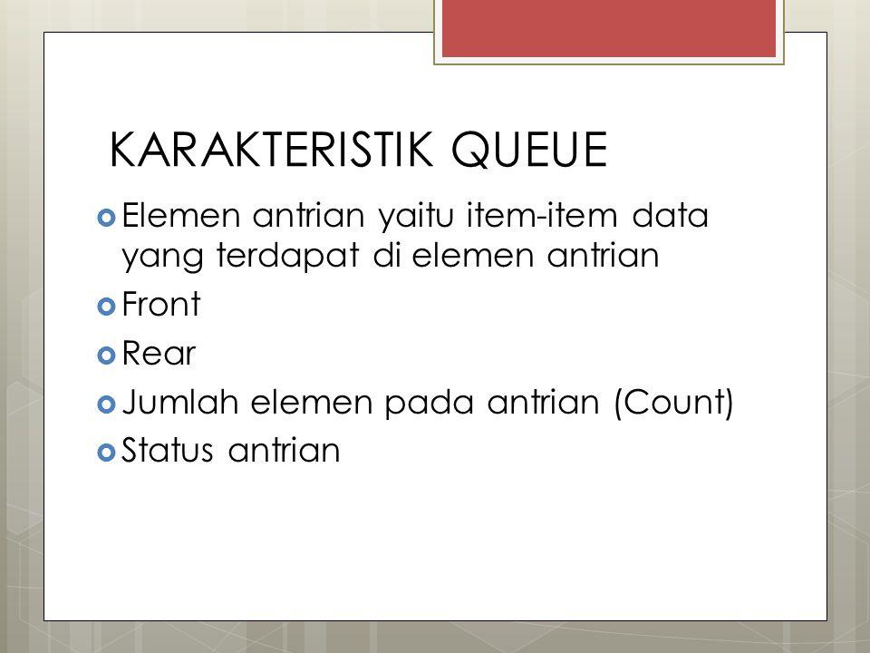 KARAKTERISTIK QUEUE  Elemen antrian yaitu item-item data yang terdapat di elemen antrian  Front  Rear  Jumlah elemen pada antrian (Count)  Status