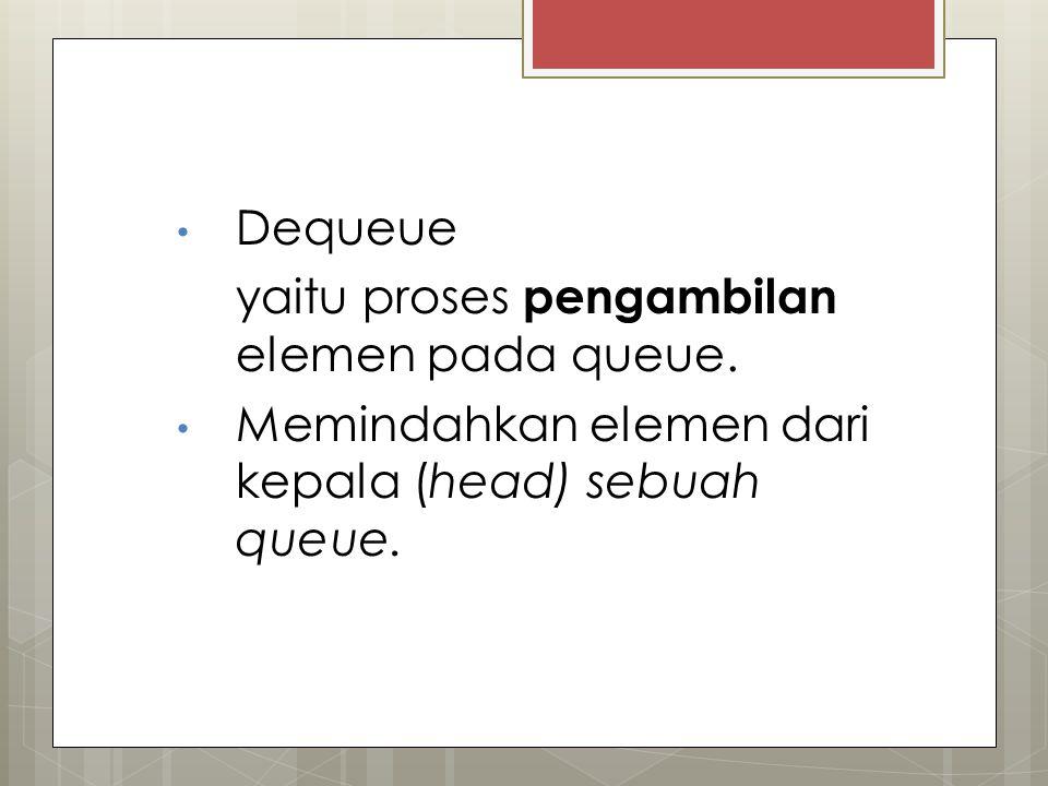 Dequeue yaitu proses pengambilan elemen pada queue. Memindahkan elemen dari kepala (head) sebuah queue.