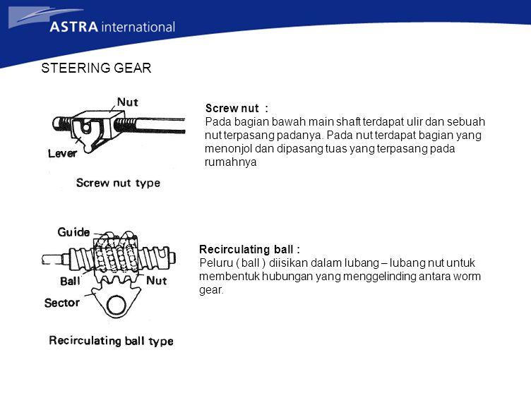 STEERING GEAR Screw nut : Pada bagian bawah main shaft terdapat ulir dan sebuah nut terpasang padanya. Pada nut terdapat bagian yang menonjol dan dipa