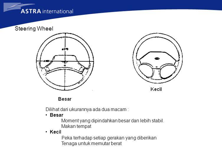 Steering Wheel Dilihat dari ukurannya ada dua macam : Besar Moment yang dipindahkan besar dan lebih stabil. Makan tempat Kecil Peka terhadap setiap ge