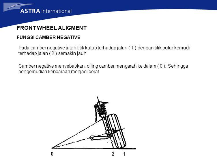 FRONT WHEEL ALIGMENT FUNGSI CAMBER NEGATIVE Pada camber negative jatuh titik kutub terhadap jalan ( 1 ) dengan titik putar kemudi terhadap jalan ( 2 )