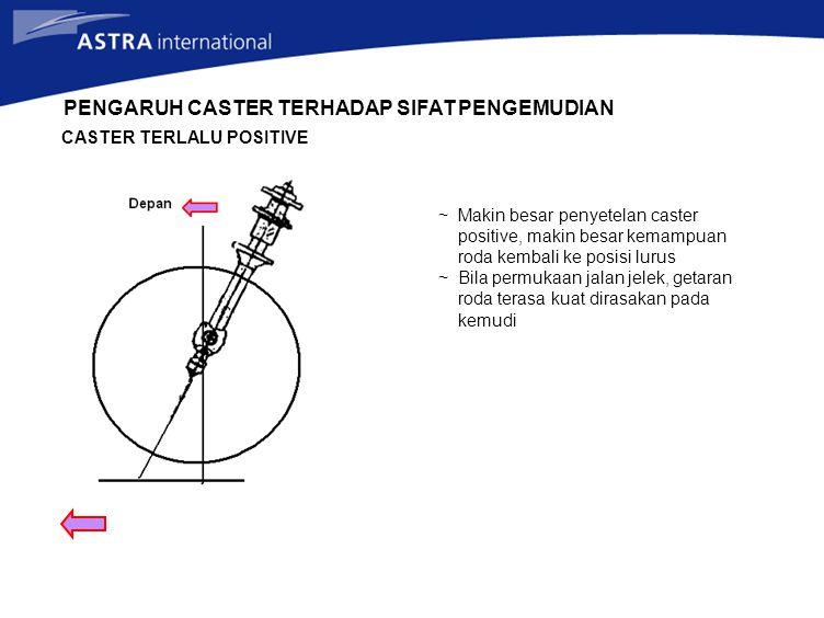 PENGARUH CASTER TERHADAP SIFAT PENGEMUDIAN CASTER TERLALU POSITIVE ~ Makin besar penyetelan caster positive, makin besar kemampuan roda kembali ke pos