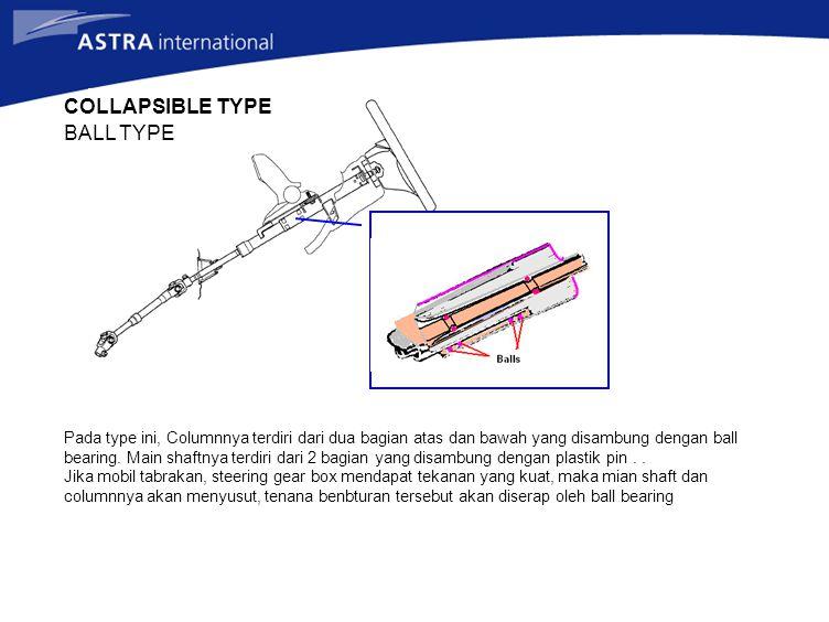 COLLAPSIBLE TYPE BALL TYPE Pada type ini, Columnnya terdiri dari dua bagian atas dan bawah yang disambung dengan ball bearing. Main shaftnya terdiri d