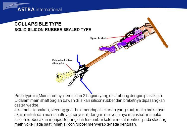 SOLID SILICON RUBBER SEALED TYPE Pada type ini,Main shaftnya terdiri dari 2 bagian yang disambung dengan plastik pin Didalam main shaft bagian bawah d