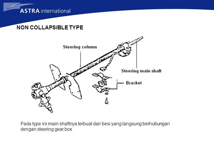 NON COLLAPSIBLE TYPE Pada type ini main shaftnya terbuat dari besi yang langsung berhubungan dengan steering gear box