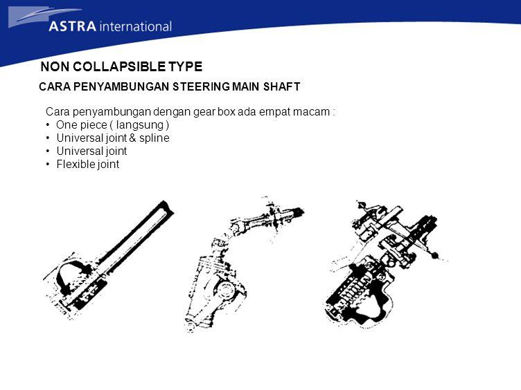 NON COLLAPSIBLE TYPE CARA PENYAMBUNGAN STEERING MAIN SHAFT Cara penyambungan dengan gear box ada empat macam : One piece ( langsung ) Universal joint