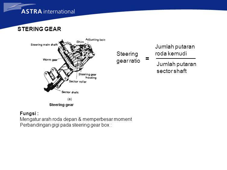STERING GEAR Fungsi : Mengatur arah roda depan & memperbesar moment Perbandingan gigi pada steering gear box : Steering gear ratio = Jumlah putaran ro