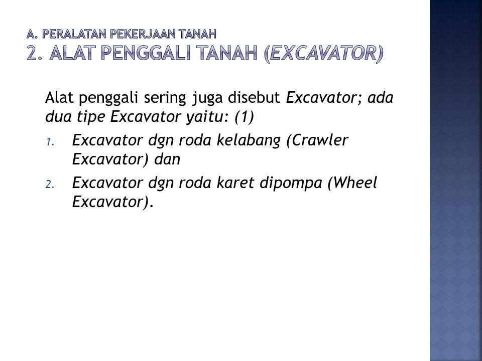 Alat penggali sering juga disebut Excavator; ada dua tipe Excavator yaitu: (1) 1. Excavator dgn roda kelabang (Crawler Excavator) dan 2. Excavator dgn